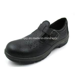 Casual Sandal Style Split Embossed Leather Safety Shoes (HQ01022) pictures & photos