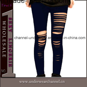 Wholesale Black Plus Size Women Ripped Legging (7826) pictures & photos