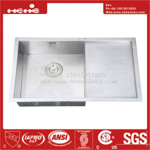 33X20 Stainless Steel Top Mount Single Bowl Handmade Kitchen Sink with Drain Board pictures & photos