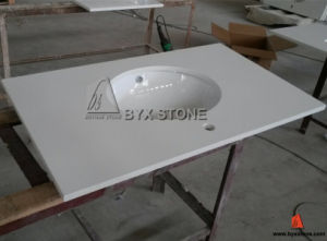 Artificial White Quartz Vanity Top with Undermount Porcelain Sink pictures & photos