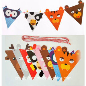 Cute Carton Printing Birthday Party Decoration Die-Cut Paper String Flag Banner / Triangle Party Decoration Flag Banner pictures & photos
