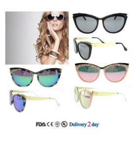 Chinese Wholesale Bright Color Polarized Sun Glasses Cat Eye Sunglasses pictures & photos