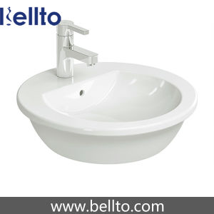 Round Inset Sink/ Ceramic Basin with Faucet (6053) pictures & photos