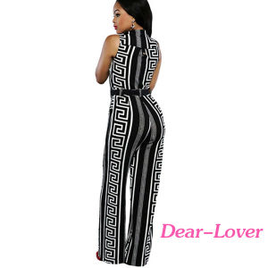 Fashion Black Print Gold Belted Jumpsuit pictures & photos