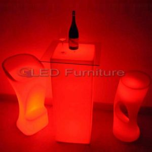 Wholesale Plastic LED Coffee Table Bar Furniture Work with Li-Battery Colorful IR Remote Control