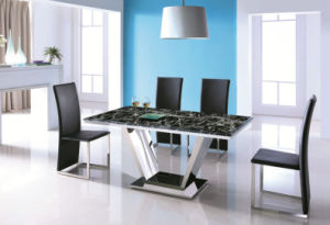 High Gloss Dining Room Furniture Glass Table PU Chair pictures & photos