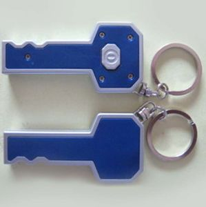 New Key Shape LED Light Keyring with Logo Printed (4091) pictures & photos