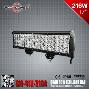 17 Inch 216W Pencil/Flood/Combo Beam Quad Row CREE LED Driving Work Light Bar