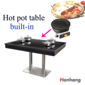 Table with Induction Cooker Hot Pot Desk