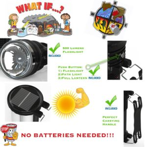 Top Rated Handheld Torch Solar or AC Rechargeable Ultra Bright Portable LED Camping Lantern and 500 Lumen Flashlight pictures & photos