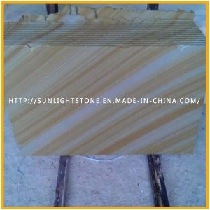 Natural Cheap Honed/Lychee Yellow Wooden Sandstones for Floor, Wall Tiles pictures & photos