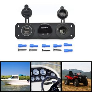 Triple Function Dual USB Charger + Blue LED Voltmeter + 12V Outlet Socket Panel Jack Marine for Digital Devices Mobile Phone Tablet pictures & photos