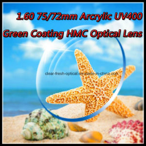 1.60 75/72mm Arcrylic UV400 Green Coating Hmc Optical Lens