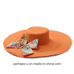 Double-Sided Wide Bill Cotton Beach Hat with Bowknot Design pictures & photos