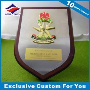 Soft Enamel Engraving Wood Based Shield Shape Decorative Plaque pictures & photos