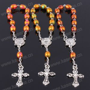 Beautiful Girls Glass Rosary Bracelet with Diamond Cross Pendant pictures & photos