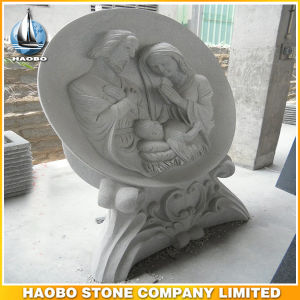 Light Grey Granite Headstone with Holy Family Sculpture pictures & photos