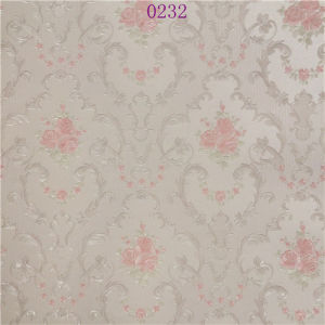 Embroidery Decorative European Type Evident Effect Pink PVC Wallpaper pictures & photos