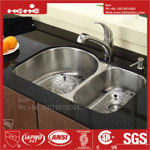 70/30 Stainless Steel Under Mount Double Bowl Kitchen Sink with Cupc Certification pictures & photos