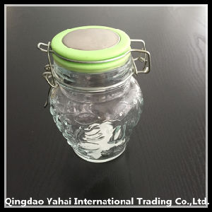 400ml Oval Glass Storage Jar with Clip Lid pictures & photos