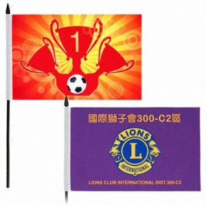 Custom Handheld Flags of Size 6 X 9-Inch with Plastic Stick