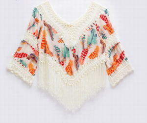 Autumn National Flavor Hand Fringed Loose Long Sleeve T Shirt pictures & photos