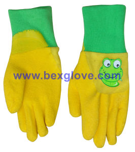 Kids Garden Style Glove, Color Interlock, Latex Coated pictures & photos
