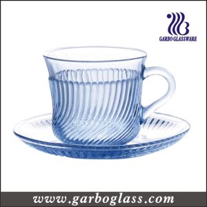 180ml Blue Glass Cup and Saucer with Line Embossment pictures & photos