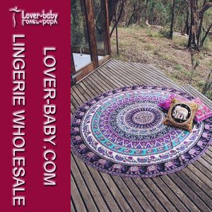 Mandala Round Tapestry Towel Round Blanket Purple Color (L38360-2) pictures & photos