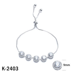 Silver Jewelry Zirconia Round Cut CZ Bracelets Adjustable Bracelets pictures & photos
