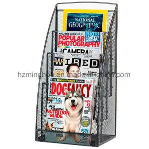 4 Pocket Steel Mesh Magazine and Newspaper Standing Display Rack pictures & photos