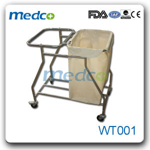 Hospital Waste Cleaning Cart Medical Dressing Trolley Stainless Steel Material pictures & photos