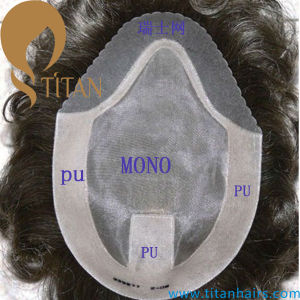 Mono with PU Swiss Lace Front Toupee for Men (TT604)