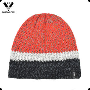 Lady Fashion Stripe Knit Colorful Knitted Hat with Fleece Inner Lining pictures & photos