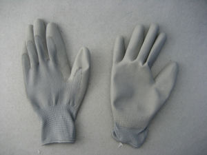 13G Polyester Liner Polyurethane PU Chemical Glove PU Coated Glove (5537. G) pictures & photos