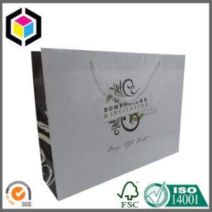 Glossy Color Print Logo Paper Tote Bag with Ribbon Handle pictures & photos