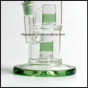 Hfy Glass 10 Inches Toro Smoking Water Pipe with Hookah Two Micro Froth Perc Percolators Glass Smoking Pipe pictures & photos