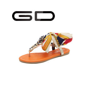 Gdshoe Latest Deisgn Summer Flip Flop Beach Shoes Silk Flat Cheap Fashion Sandals for Sale pictures & photos