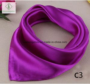 60*60cm Satin Silk Plain Cravat Fashion Lady Square Scarf pictures & photos