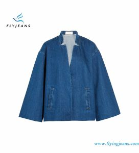 Relaxed Fit Women Denim Jackets with Concealed Snap Fastenings pictures & photos