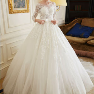 Fabulous Ball Gown Full Sleeves Bateau Appliqued Bridal Dress with Detachable Waistband pictures & photos