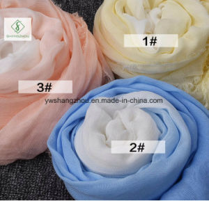 Hot Sale 100% Rayon Gradient Plain Shawl Fashion Lady Scarf pictures & photos