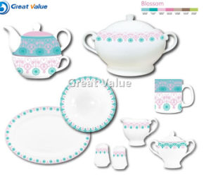 New 2017 White Porcelain Dinner Set with Elegant Euro Lines Series pictures & photos