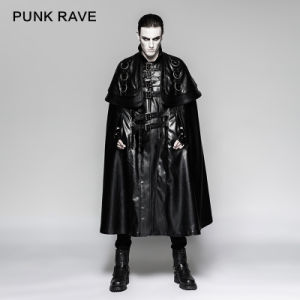 Gothic Japanese Solider Metallic Big Cloak Men Leather Long Coat (Y-747) pictures & photos