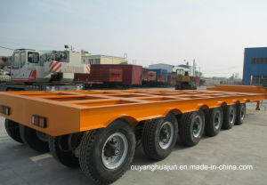 3 Axle 13 Meters Low Bed Flatbed Semitrailer pictures & photos