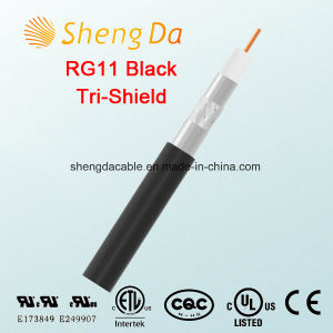 Rg11 Tri-Shield Black 75 Ohms Coaxial Drop Cable pictures & photos