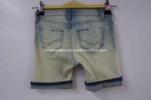 Light Blue Printed Denim Shorts (JF-K-07) pictures & photos