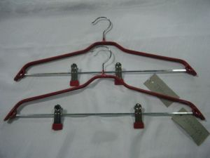 PVC Metal Clothing Hanger with 2 Metal Clips pictures & photos