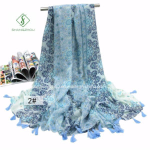 Large Printed Fringed Beach Towel Sunscreen Shawl Lady Fashion Scarf pictures & photos