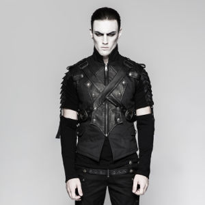 Y-738 Punk Rave Military Uniform Cross Belt Inelastic Laminating Denim Vest pictures & photos